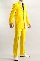 カラースーツ シングル 3つボタン イエロー ノータックパンツ モデル
