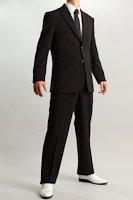 シングル 2つボタンスーツ サイドベンツ ブラック