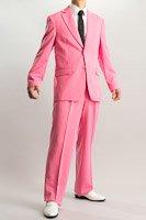 カラースーツ シングル 2つボタンサイドベンツ ショッキングピンク 2タックパンツモデル
