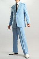 シングル 2つボタンスーツ サイドベンツ ライトブルー
