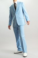 カラースーツ シングル2つボタン ライトブルー  ノータックパンツモデル