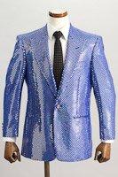 スパンコールジャケット シングル1ボタン ブルー