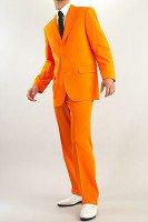 カラースーツ シングル 3つボタン オレンジ ノータックパンツ モデルの画像