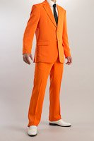 カラースーツ シングル2つボタン サイドベンツ オレンジ ノータックパンツモデル
