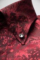 クラッシュ柄ボタンダウンシャツ#1a0221 ワインレッド