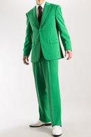シングル 2つボタンスーツ サイドベンツ グリーン