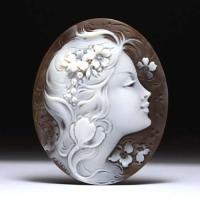 女性像シェルカメオルース「そよ風にゆれる美女」作家チーロ・ヴィティエッロ