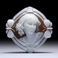 【可愛らしい正面顔】シェルカメオルース「蝶に囲まれた少女」 作家ジョヴァンニ・トゥルコ