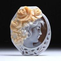 シェルカメオルース「薔薇の髪飾りの美女」 作家チーロ・フレーシア