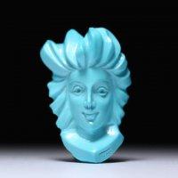 【秀逸】美しい正面顔女性像のターコイズカメオルース  作家ジョヴァンニ・トゥルコ