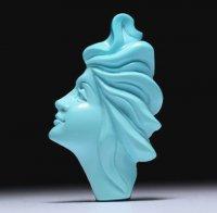 【秀逸】美しい横顔女性像のターコイズカメオルース  作家ジョヴァンニ・トゥルコ