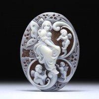 【繊細なインタリオ彫り】「フェアリーと天使たち」シェルカメオルース 作家チーロ・フレーシア