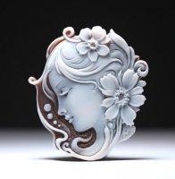 シェルカメオルース「花々に囲まれた貴婦人の横顔」作家チーロ・ヴィティエッロ