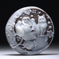 【シモネッリ氏のファンタジー世界】シェルカメオルース「月・薔薇・猫」 作家ピエトロ・シモネッリ