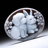 シェルカメオルース「仲良しのふたり(犬とウサギですが)」 作家ピエトロ・シモネッリ
