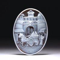 【三次元の風景画】シェルカメオルース「カプアーナ門の日常」 作家フランチェスコ・モナステーロ