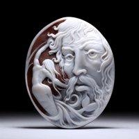 【写実的な正面顔】シェルカメオルース「海の神ポセイドン」作家フランチェスコ・モナステーロ