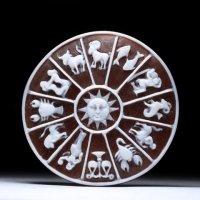 【精巧なミニチュア彫刻】十二星座モチーフのシェルカメオルース 作家フランチェスコ・モナステーロ