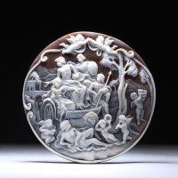 【傑作ミニチュア彫刻】シェルカメオルース「地水火風の神々」作家フランチェスコ・モナステーロ