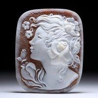 【SV加工費込】シェルカメオルース「蝶と戯れる美女」G 作家カルラ・ヤンナコーネ