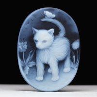 【SV枠加工費込】猫モチーフのストーンカメオルース