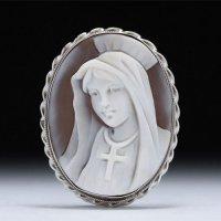 正面顔シェルカメオブローチ兼Pトップ「聖母マリア様」 作家フランチェスコ・モナステーロ