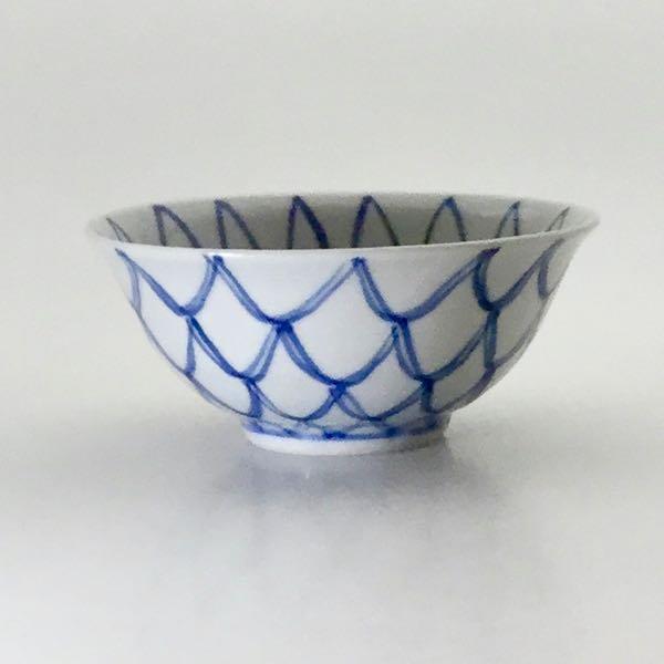 染附菊網飯碗(小)