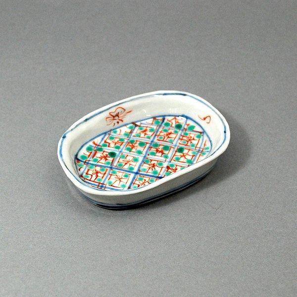 色絵染付小判形皿 小