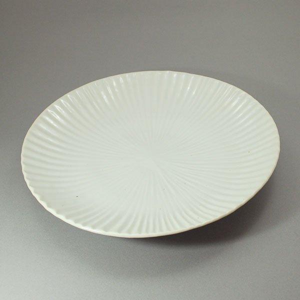 白磁縞8.5寸皿