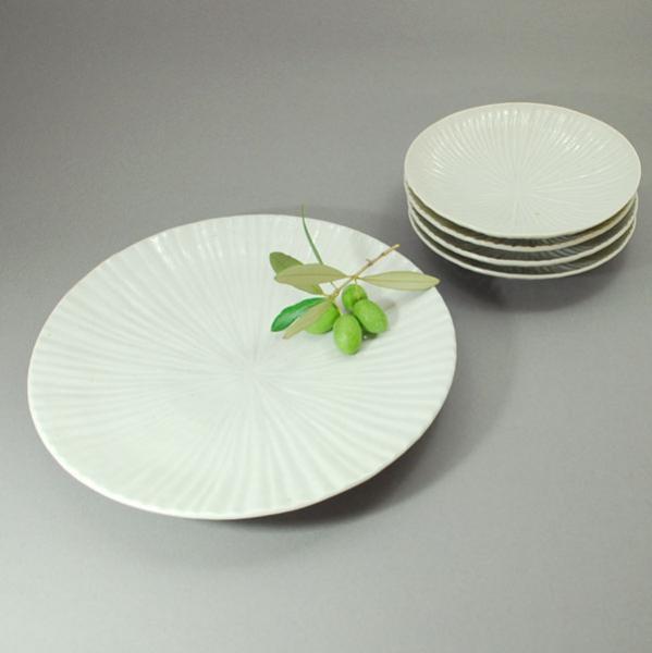 白磁内しのぎ7.5寸皿