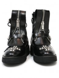 Cross studs Boots/Bk Leather
