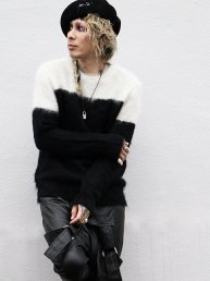 LIBBIT Mohair sweater 2018.Wht×Bk