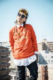 Stellar knit sweater/ オレンジ・ブラック