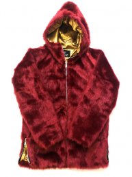 Big Hood Fur Jacket/ Deep Red