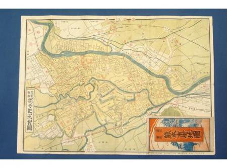 最近実測 熊本市街地図  大正9年 濱田辰次郎★(送料無料)