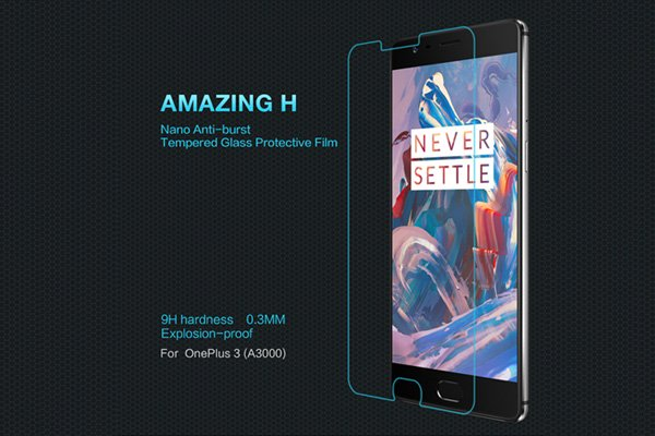 【ネコポス送料無料】OnePlus 3 強化ガラスフィルム ナノコーティング 硬度9H [1]