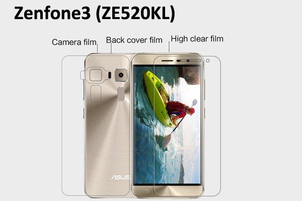 【ネコポス送料無料】Zenfone3 (ZE520KL) 液晶保護フィルムセット クリスタルクリアタイプ [1]
