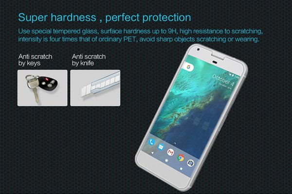 【ネコポス送料無料】Google Pixel XL 強化ガラスフィルム ナノコーティング 硬度9H [2]