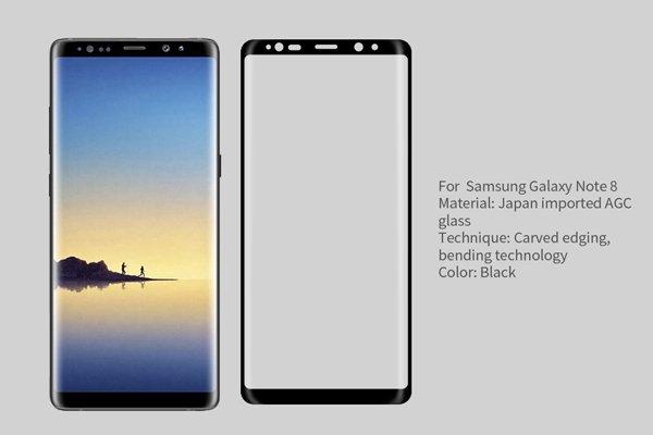 【ネコポス送料無料】Galaxy Note8 3Dフルカバー 強化ガラスフィルム ブラック [1]
