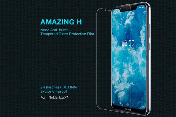 【ネコポス送料無料】Nokia8.1 強化ガラスフィルム ナノコーティング 硬度9H  [1]