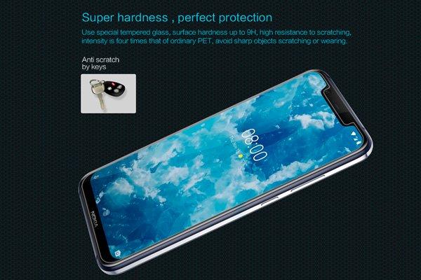 【ネコポス送料無料】Nokia8.1 強化ガラスフィルム ナノコーティング 硬度9H  [2]