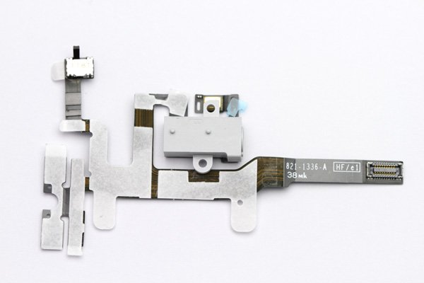 【ネコポス送料無料】Apple iPhone4S ヘッドフォンフレックスケーブル ホワイト  [1]