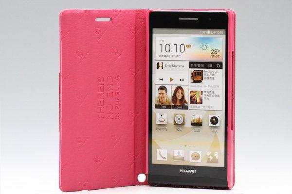【ネコポス送料無料】Huawei Ascend P6 高品質PUケース 横開きタイプ ピンク  [2]