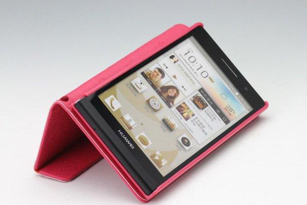 【ネコポス送料無料】Huawei Ascend P6 高品質PUケース 横開きタイプ ピンク  [3]