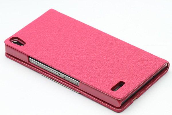 【ネコポス送料無料】Huawei Ascend P6 高品質PUケース 横開きタイプ ピンク  [4]