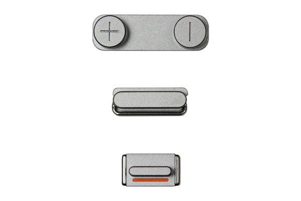 【ネコポス送料無料】Apple iPhone5s ボタン3点セット(スリープ マナー ボリューム) スペースグレイ  [1]