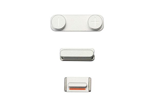 【ネコポス送料無料】Apple iPhone5 ボリューム スリープ マナーボタンセット シルバー  [1]