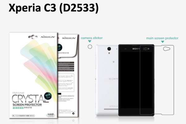 【ネコポス送料無料】Xperia C3 (D2533) 液晶保護フィルムセット クリスタルクリアタイプ  [1]