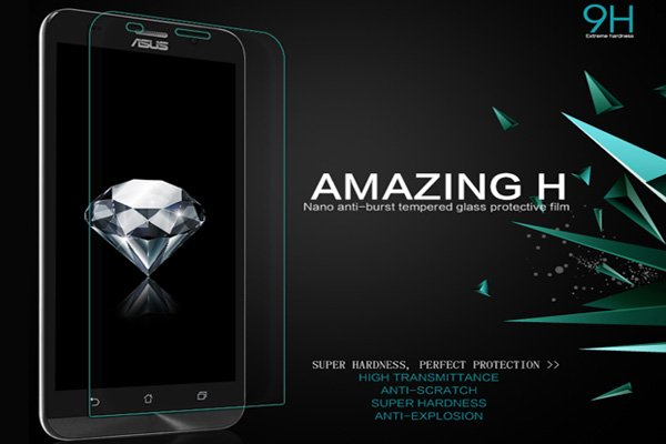 【ネコポス送料無料】ASUS Zenfone2 (ZE551ML) 強化ガラスフィルム ナノコーティング 硬度9H  [2]