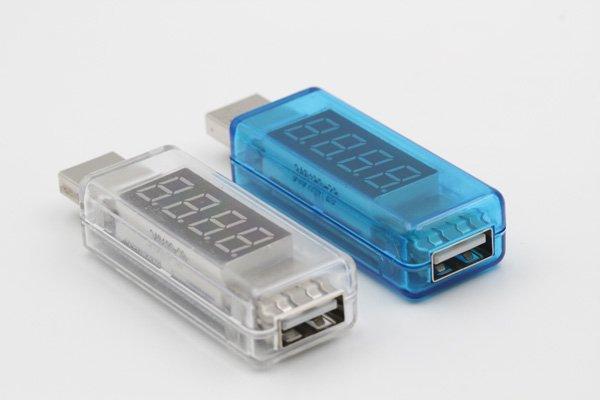 【ネコポス送料無料】USB 簡易電圧 電流チェッカー ストレート型  全2色  [4]